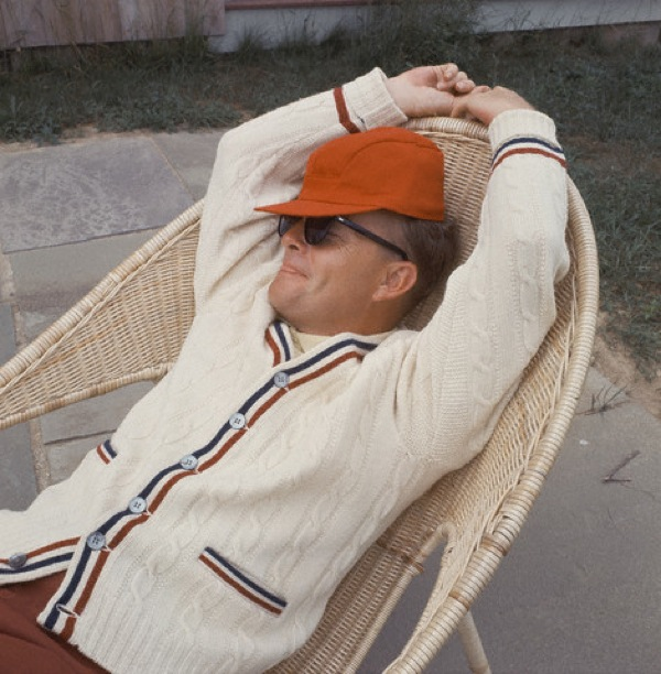 Truman Capote Relaxing on Patio