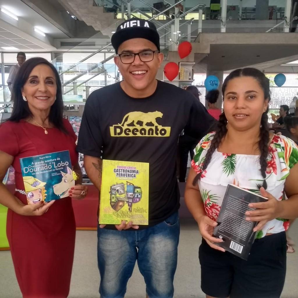 Regina Marcia, Edson Leite e Raquel Cassiano lançaram seus livros por aqui. Foto: Equipe SP Leituras.