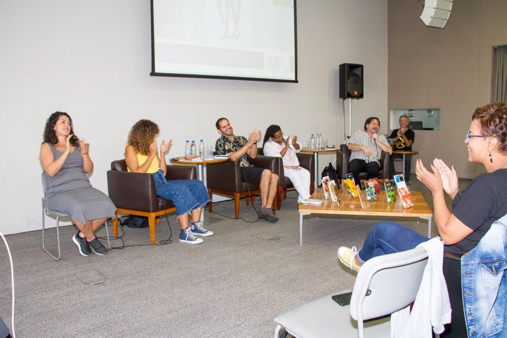 Bate-papo especial reuniu Cidinha da Silva, Marcelino Freire, Roberta Estrela D'Alva e Rodrigo Ciríaco na programação de aniversário de 10 anos da BSP. Foto: Paulo Matheus