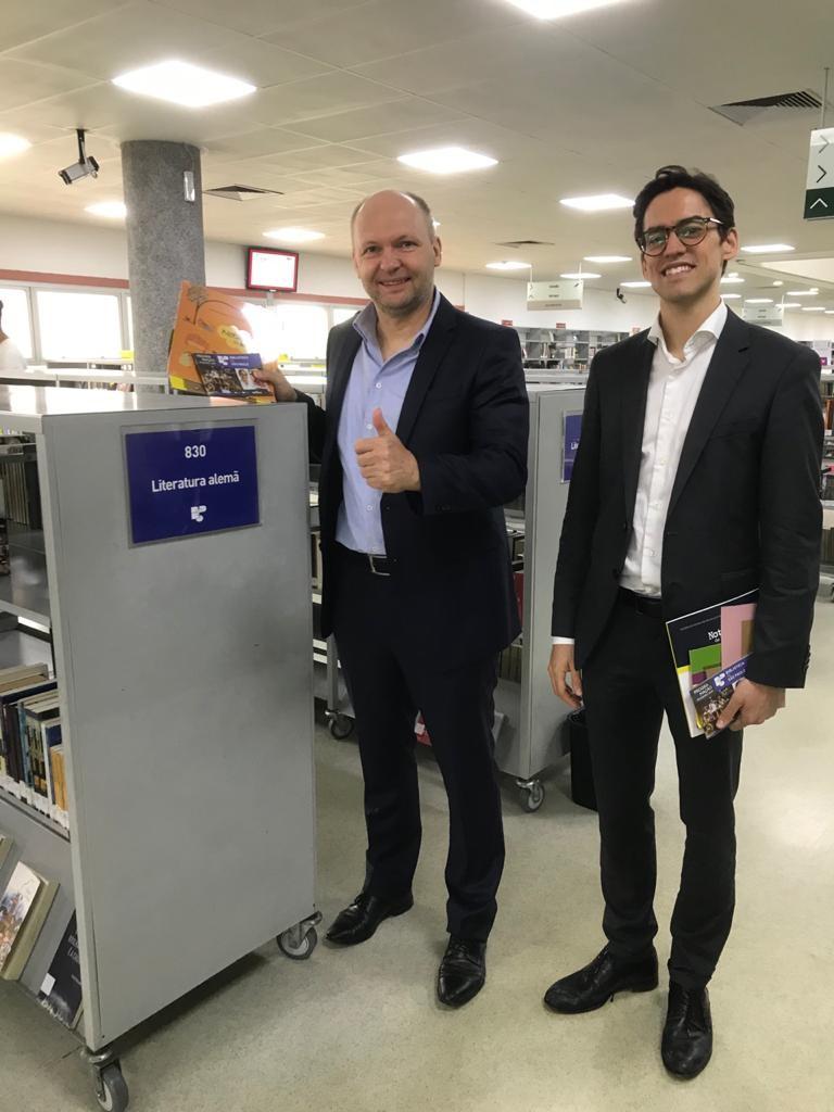 Jens Gustav, cônsul geral, e Julius Calaminus, cônsul de assuntos culturais da Alemanha. Foto: Equipe SP Leituras.