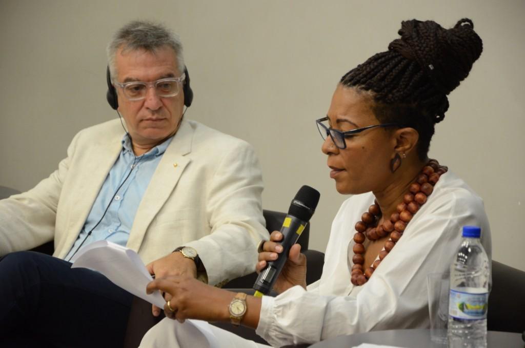 Gonzalo Oyarzún e Isabel Santos Mayer no Workshop Internacional Mediação. Foto: Equipe SP Leituras