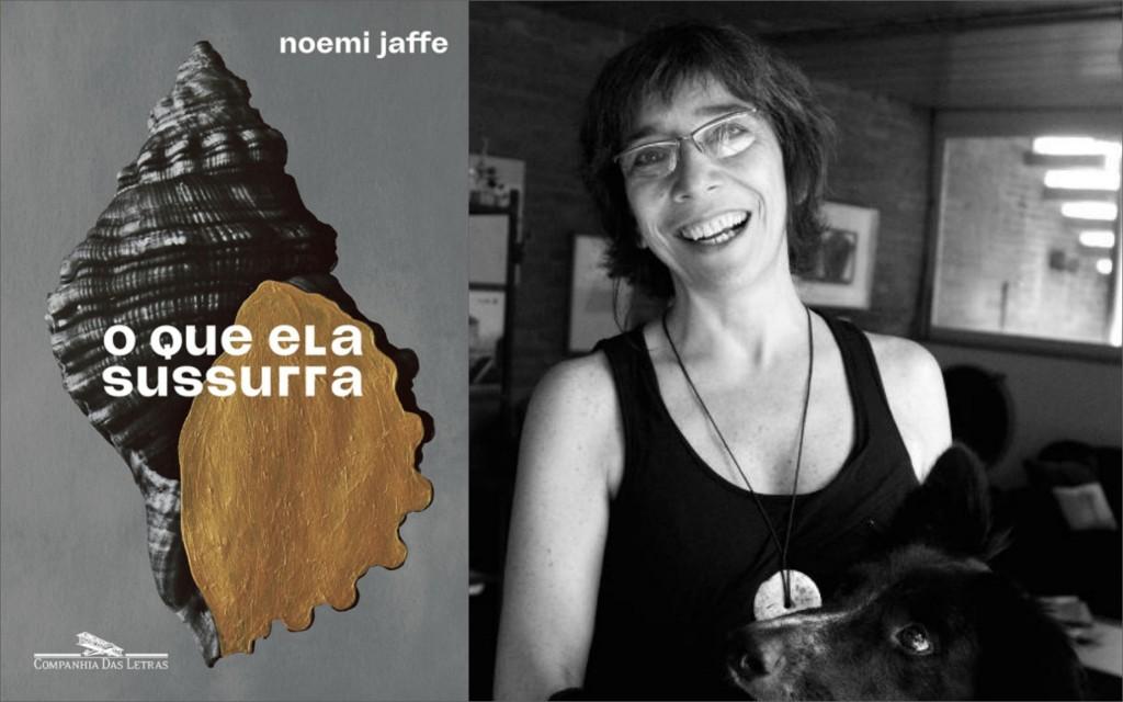 """Noemi Jaffe e a capa de seu novo livro, """"O Que Ela Sussurra"""". Foto: Montagem/ Divulgação"""